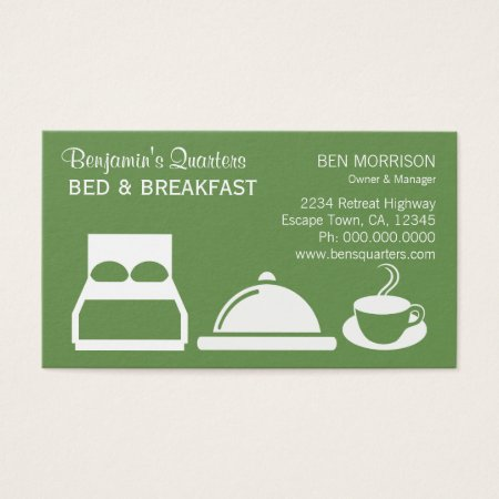 Bed, Breakfast and Coffee Olive Green Bed and Breakfast Business Cards