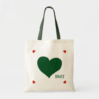 green (custom color) heart of love personalized tote bag