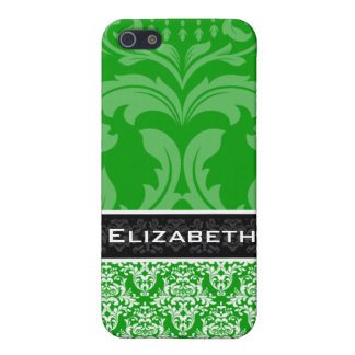 Green Custom Damask iPhone 4 Case With Your Name