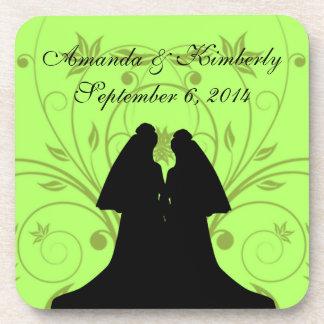 Green Custom Lesbian Wedding Reception Coasters