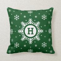Green Custom Monogram Christmas Snowflake pillow