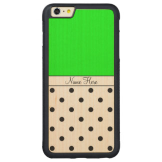 Green Custom Name, Black Polka Dots Monogram Carved® Maple iPhone 6 Plus Bumper