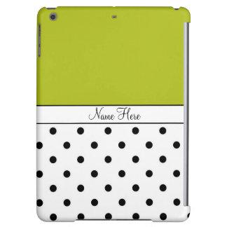 Green Custom Name, Black & White Polka Dots iPad Air Cases