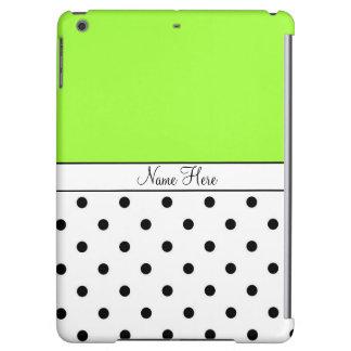 Green Custom Name, Black & White Polka Dots iPad Air Covers