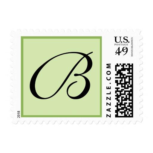 Green Custom Postage Stamp with Monogram Postage