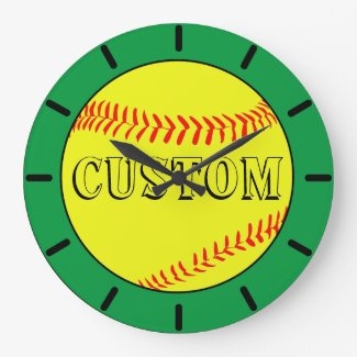 Green Custom Softball Wall Clock