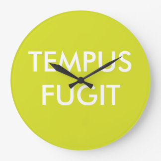Green Custom Text Latin Phrases Tempus Fugit Large Clock