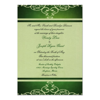 "Green Custom Wedding Invitations 4.5"" X 6.25"" Invitation Card"