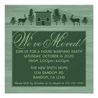 Green customizable log cabin moving invitations