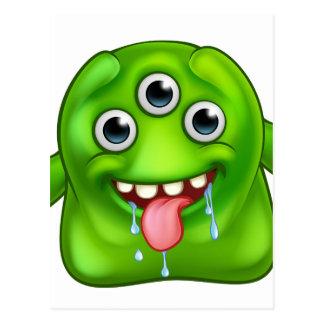 Green Cute Alien Monster Postcard