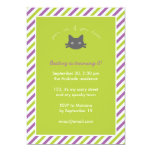 Green Cute Black Cat Kids Halloween Birthday Personalized Invitation