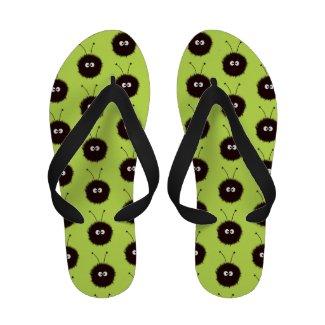 Green Cute Dazzled Bugs Pattern Flip-Flops