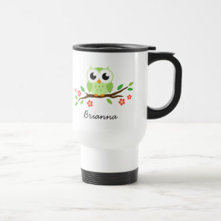Green, cute owl on floral branch personalized name travel mug