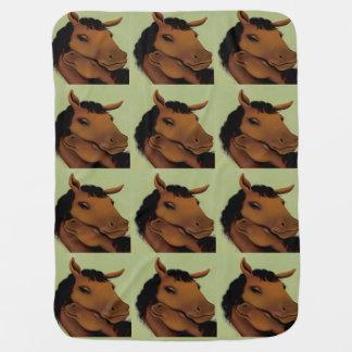 Green Cute Pony Baby Blanket