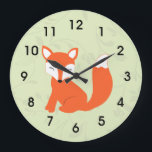 "Green Cute Woodland Baby Fox Large Clock<br><div class=""desc"">This cute home decor clock features a sleepy,  busy tailed baby fox cub.  The background is a light green with a floral watermark design.  These clocks looks great in a woodland or forest theme nursery or kid&#39;s room.</div>"