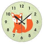 Green Cute Woodland Baby Fox Large Clock