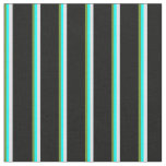 [ Thumbnail: Green, Cyan, Lavender, and Black Colored Lines Fabric ]