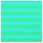 [ Thumbnail: Green & Cyan Stripes Fabric ]