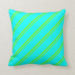 [ Thumbnail: Green & Cyan Stripes Throw Pillow ]