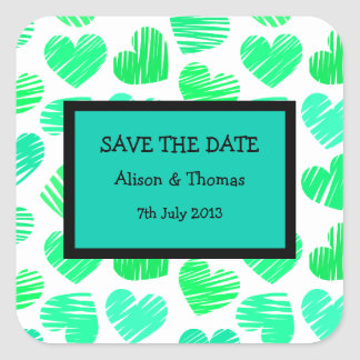 Green cyan white hearts 'Save the date' Sticker