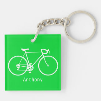 Green cycle Double-Sided square acrylic keychain