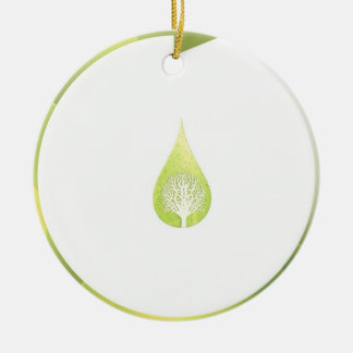 Green Cycle Double-Sided Ceramic Round Christmas Ornament