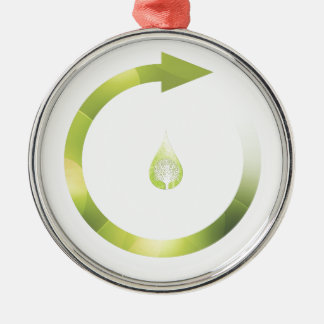 Green Cycle Round Metal Christmas Ornament