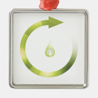 Green Cycle Square Metal Christmas Ornament