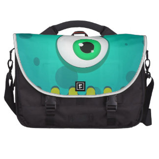 Green cyclopes monster with a huge eye laptop bag