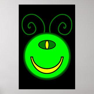 Green Cyclops Monster Face Poster