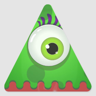 Green cyclops monster with a huge eye triangle sticker