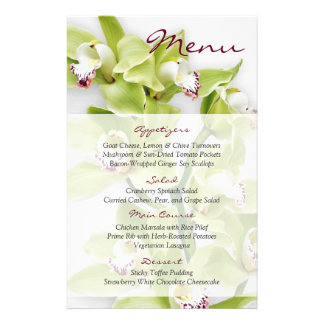 Green Cymbidium Orchid Floral Wedding Menu Card