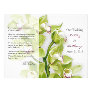 Green Cymbidium Orchid Floral Wedding Program