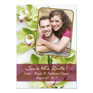 Green Cymbidium Orchid Photo Wedding Save the Date Card