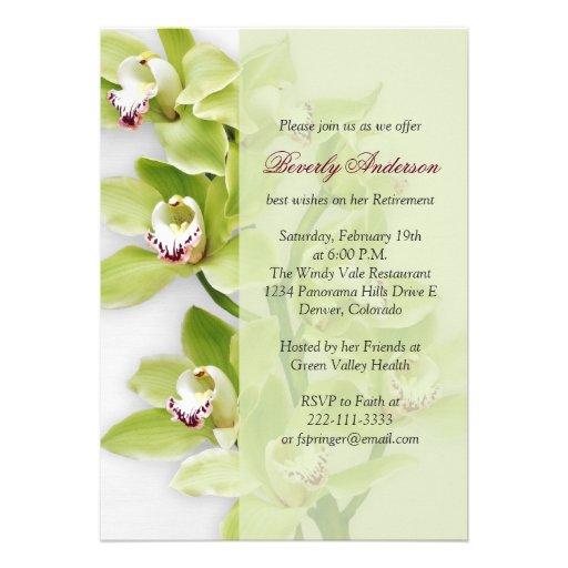 Green Cymbidium Orchid Retirement Invitation