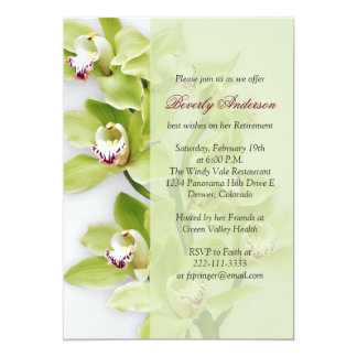 Green Cymbidium Orchid Retirement Invitation