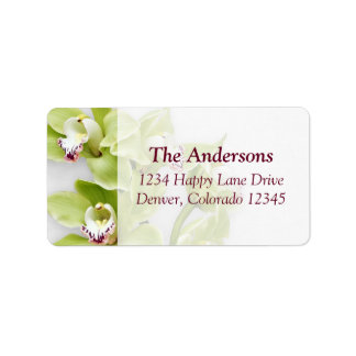 Green Cymbidium Orchid Wedding Address Labels