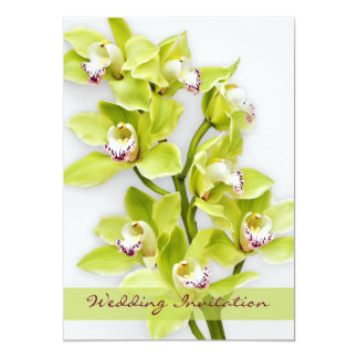 Green Cymbidium Orchid Wedding Invitation Brighter