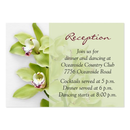 green cymbidium orchid wedding reception insert business card templates zazzle. Black Bedroom Furniture Sets. Home Design Ideas