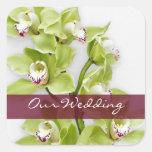 Green Cymbidium Orchid Wedding Square Stickers