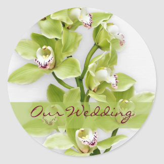 Green Cymbidium Orchid Wedding Stickers