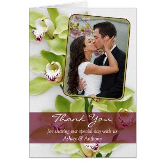 Green Cymbidium Orchid Wedding Thank You Card