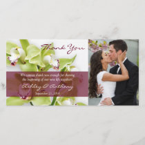Green Cymbidium Orchid Wedding Thank You Photocard