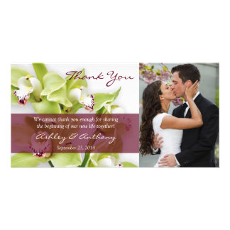 Green Cymbidium Orchid Wedding Thank You Photocard Card