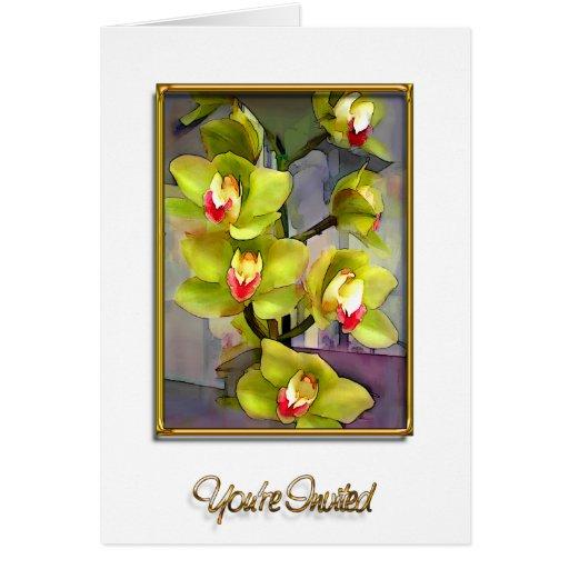 Green Cymbidium Orchids Invitation