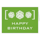 Green D20 Dice Gamer Birthday Card