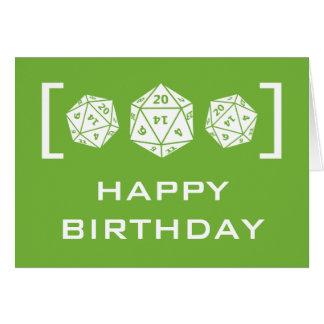 Green D20 Dice Gamer Birthday Card