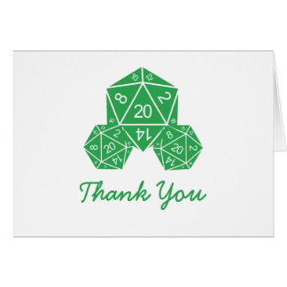 Green D20 Dice Thank You Card Note Card