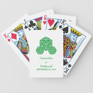 Green D20 Dice Wedding Playing Cards
