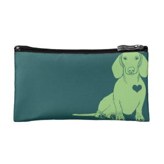 Green Dachshund Silhouette Cosmetic Bag